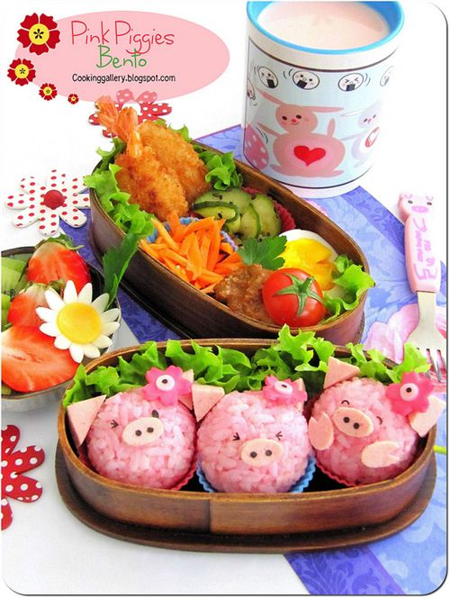 Adorable little piggies bento by Cooking-Gallery