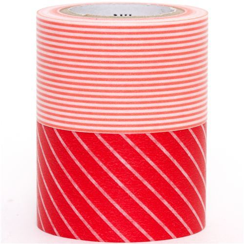 wide mt Washi Masking Tape deco tape set 2pcs stripes