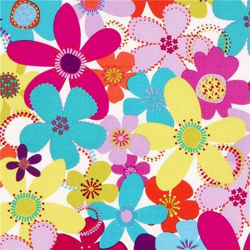cute Michael Miller fabric with colourful flowers