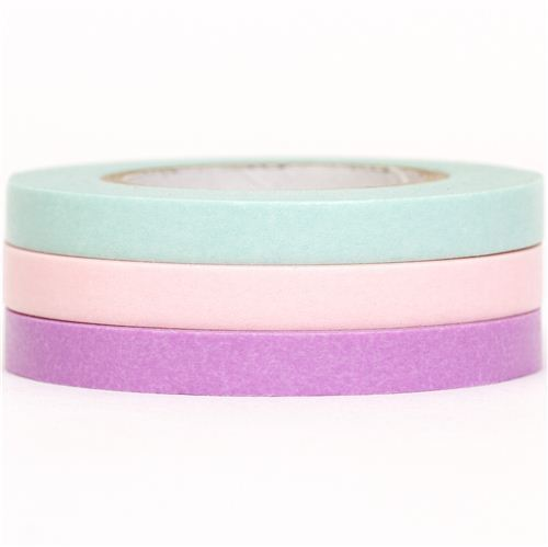 slim mt Washi Masking Tape deco tape set 3pcs turquoise pink