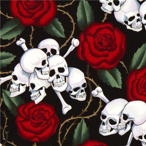 black Alexander Henry  rose fabric with skulls