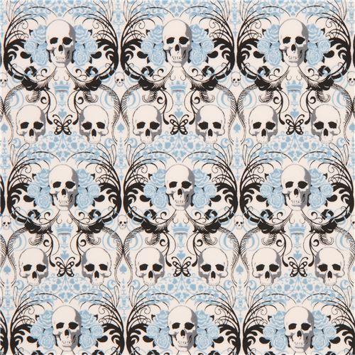 light cream with skull blue flower knit fabric Alexander Henry Regent Skull