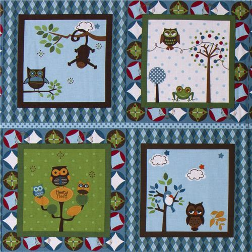 blue Riley Blake panel fabric kawaii owls