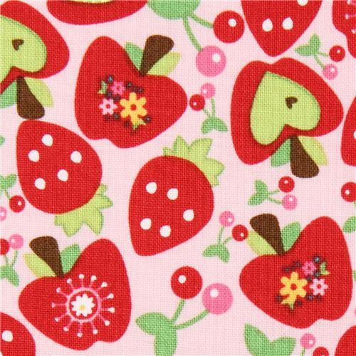 pink Riley Blake fabric heart-apple strawberry cherry