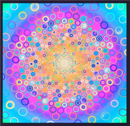 Effervescence Digital Panel fabric by Robert Kaufman in orange and purple