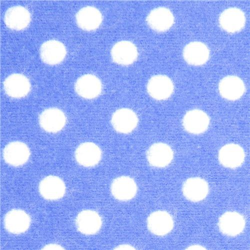 blue Michael Miller flannel fabric white polka dots