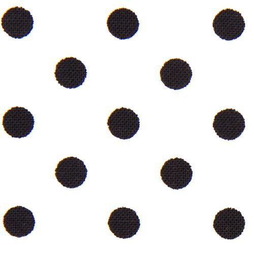 white Michael Miller fabric small black polka dots