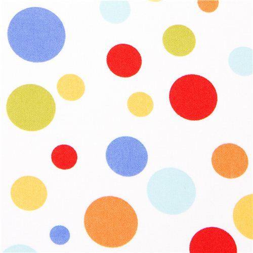 white Michael Miller fabric with colourful polka dots