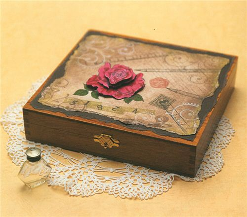 A great idea - embellish a wooden box with stamps