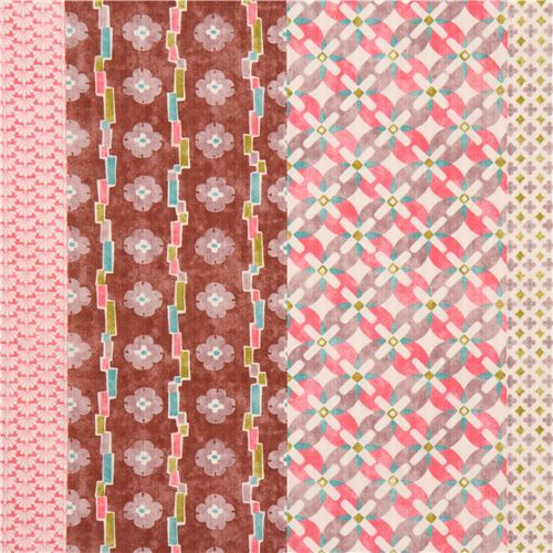 colorful structured pretty stripe light cream flower dobby fabric from Japan