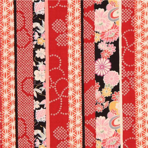 colorful structured stripe blossom flower leaf dobby fabric from Japan