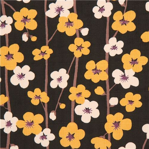 dark green structured marigold yellow light cream flower dobby fabric from Japan