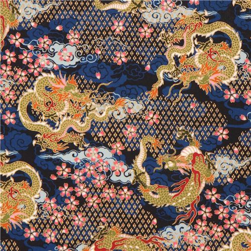 navy blue colorful dragon flower cloud gold metallic embellishment fabric