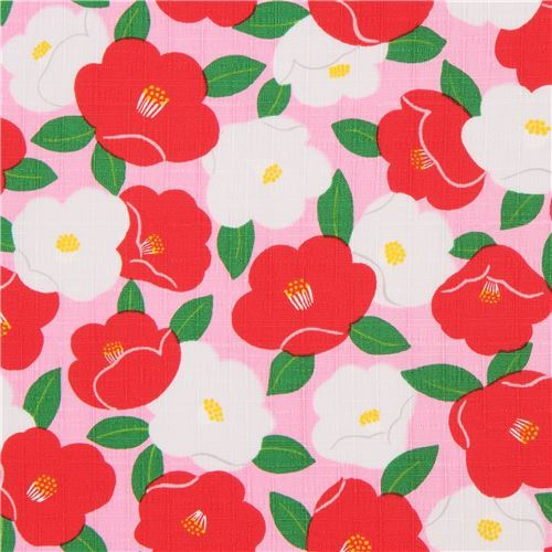 pink structured cute red white flower dobby fabric from Japan