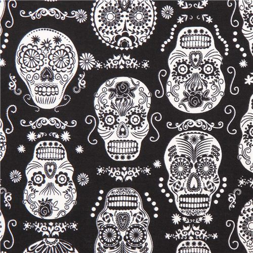 black glow in the dark folklore skulls sugar skull fabric