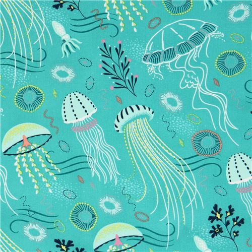 turquoise fabric colorful jellyfish sea life by Michael Miller