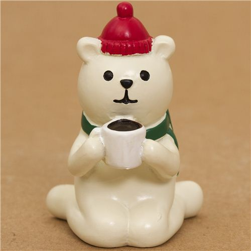 cute Christmas bear figure with hot chocolate from Japan