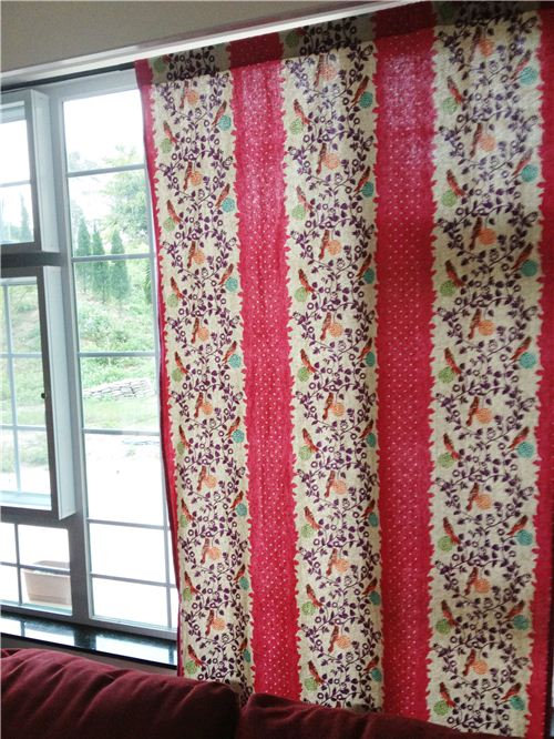 Sandra used different echino fabrics to sew curtains for her whole house. Seen here: Living room curtains