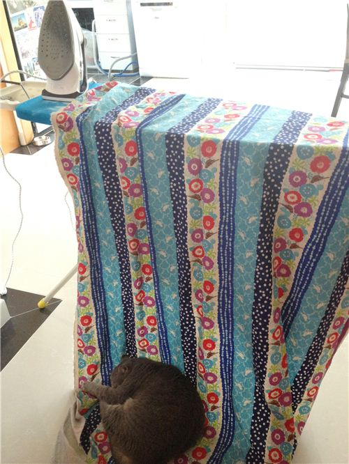 Her cat Miu also liked the big sewing project. So comfy!